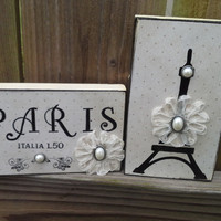 Paris Decor Blocks Sign black and toast almond paper dot French decor