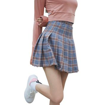 Kawaii Women Skirt Harajuku Plaid Pleated Preppy Style Skirts Ladies Jupe Lolita Saia Cute School Uniforms Faldas 2SKL03