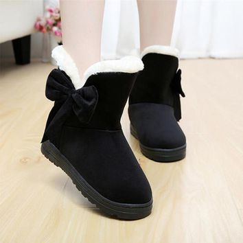 New women snow boots with bow women boots female girls fashion winter boot warm comfor