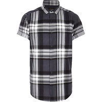 River Island MensDark grey large check short sleeve shirt