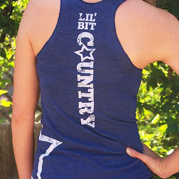 Lil' Bit Country | Women's Tri-Indigo Racerback Tank Top