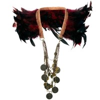 River Island Wow Feather & Coin Cape Necklace at asos.com