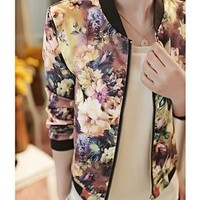 FINEJO Women Stand Collar Long Sleeve Floral Print Zipper Streetwear Jacket