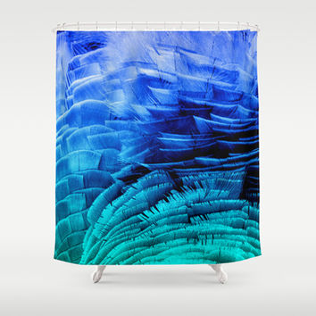RUFFLED BLUE Shower Curtain by Catspaws