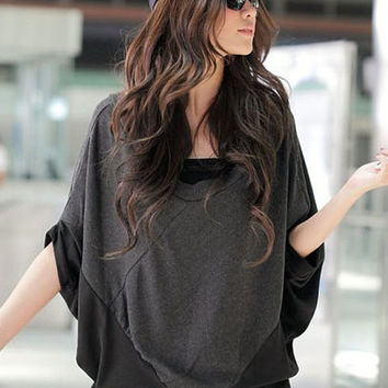 Loose Sleeve Personnalit Gray Blouses Wholesale : Wholesaleclothing4u.com