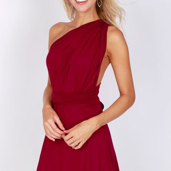 Versatile Halter Wrap Dress Burgundy