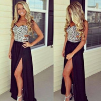 Sexy Prom or Special Occasion Beading Floor Length Long Black Dress
