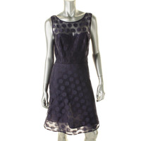 Betsey Johnson Womens Lace Overlay Sleeveless Cocktail Dress