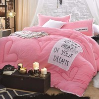 Pink Queen/King Stitching Comforter+ 2 pillowcases