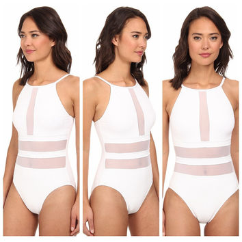 2015 new sexy plus size swimwear one piece swimsuit White bathing suit swim wear swimming suit for women maillot de bain s-xl
