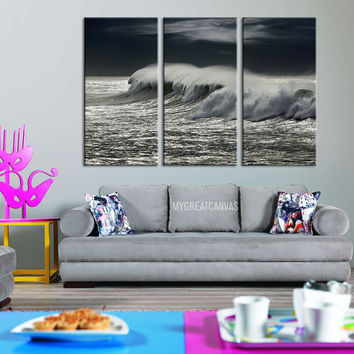 Large Wall Art GICLEE 3 Panel Canvas Print - Black and White Ocean Storm and Wave  - Ocean Wave Art Canvas Print