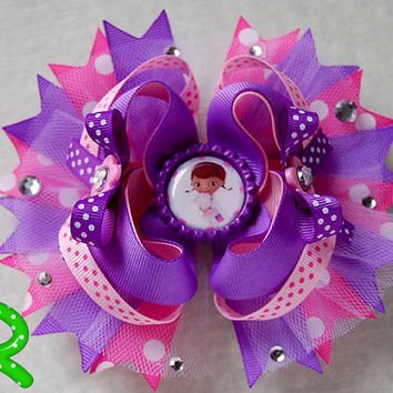Doc Mcstuffins Hair Bow ,Doc Mcstuffins layered Bow, stacked bow, Doc boutique Hair Bow