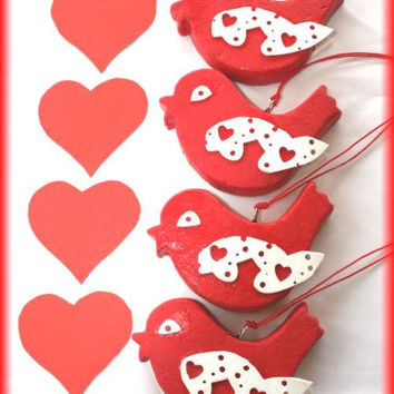 4 Bright Handmade Red Lovebirds ..Use As Decorations And Celebrations From Valentine's Day, Engagements Or Special Dinner Party Festivities.