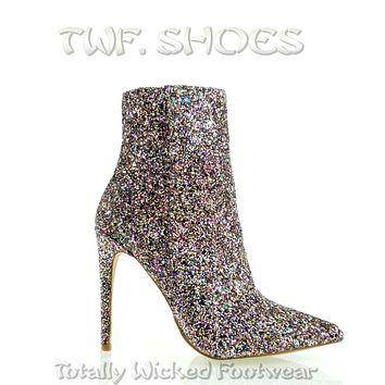 """Amanda Sexy Pointy Toe 4.5"""" High Heel Multi Glitter Ankle Boots 7-11"""
