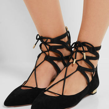 Aquazzura - Belgravia suede point-toe flats