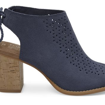 CADET BLUE PERFORATED SUEDE WOMEN'S ELBA BOOTIES
