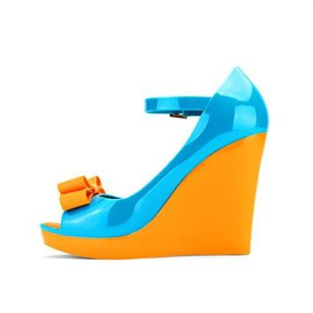 Chemistryreg B812 Womens Peep Toe High Heels Ankle Strap High Platform Wedge Pump Jelly Shoes Sandal Orange Blue