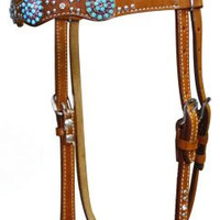 Saddles Tack Horse Supplies - ChickSaddlery.com Showman Headstall & Reins Set With Turquoise and Pink Crystal Rhinestones