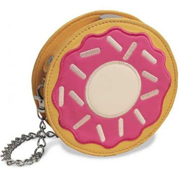 Pink Sprinkle Donut Round Flask Purse