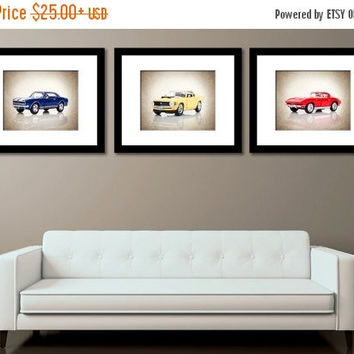 Weekend Sale Discount set of 3 Muscle Cars Front view,wall decor,boys room decor,nursery decor,wall art,bedroom decor,classic cars,kids room