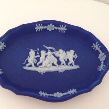 Wedgwood Oval Cobalt Blue Jasperware Pin Dish - Cameo Vintage marked signed Made in England - trinket cherub angel devil demon - white blue