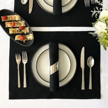 Solid Black Table Linen Napkins and Placemats