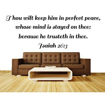 Bible Verse Wall Art Isaiah 26:3, Scripture Wall Quote Decal