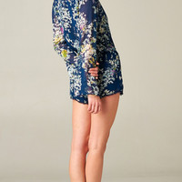 BLUE FLORAL CHIFFON ROMPER | PUBLIK | Women's Clothing & Accessories