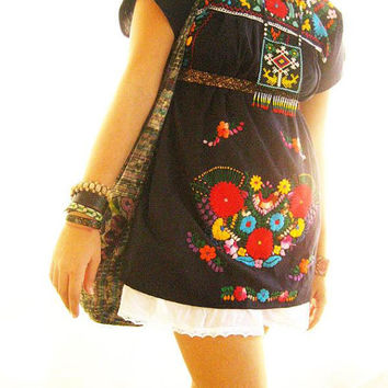 Mexican black dress vintage boho embroidered crochet lace