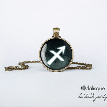 Sagittarius sign pendant European Zodiac necklace fire sign gift jewelry bronze for him for her jewellery key ring