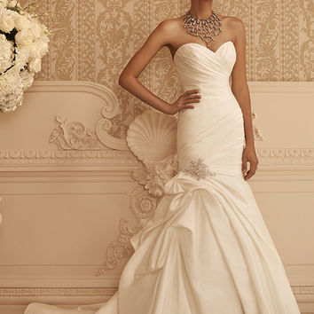 Casablanca Bridal 2106 Strapless Satin Fit & Flare Wedding Dress