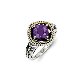Antique Style Sterling Silver with 14k Yellow Gold 2.10 Amethyst Ring