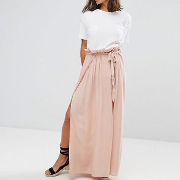 ASOS PETITE Maxi Skirt with Belt and Thigh Split at asos.com
