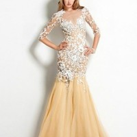2014 Sexy Lace 3/4 Long Sleeves Embroidery Bridal Party Prom Gown Evening Dress