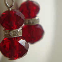 Red earrings, red crystal earrings, dangle earrings, UK Seller