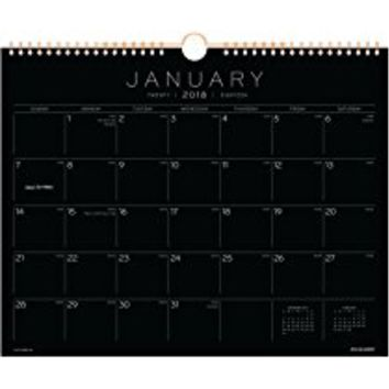 "AT-A-GLANCE Monthly Wall Calendar, January 2018 - December 2018, 14-7/8"" x 11-7/8"", Wirebound, Black Paper (PM8BP28)"