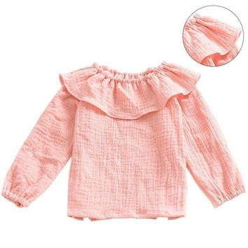 Fashion Kids Baby Girls Clothes Long Sleeve Pullover Jumper T-Shirt Tops Pink US
