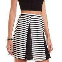 Sheer-Striped Skater Skirt by Charlotte Russe