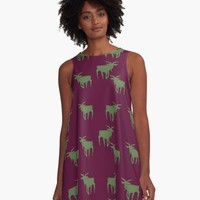 'Jay's Goats; Royal Goats' A-Line Dress by Carmen Ray Anderson