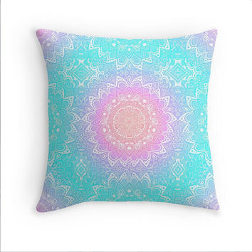 Mandala Aqua Pillow Pink Blue Aqua Purple Cover 16x16 18x18 20x20 Square Boho Bohemian