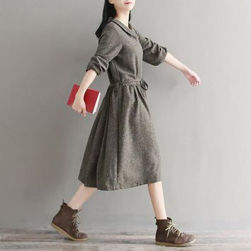 Mori Girl Autumn Winter Shirt Dress Peter Pan Collar Single Breasted Retro Dress Femme Long Sleeve Lace Artsy Dress
