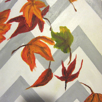Autumn Leaf Wall Art Painting, Chevron Home Decor