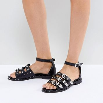 Lost Ink Black Western Flat Sandals at asos.com
