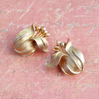Vintage Crown Trifari, Flower Floral, Gold Tone Clip On Non Pierce Earrings, Womens Estate Spring Summer Jewelry, Wife Girlfriend Mom Gift
