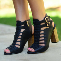 Boho Peekaboo Booties - Black