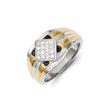 14k Two-tone Gold Black & White Diamond Men's Ring