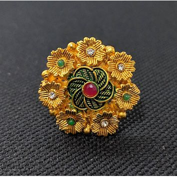 Traditional matte gold finish multiple flower surrounded matte meenakari shade center adjustable finger ring
