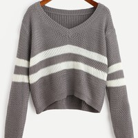 Striped V Neck Crop Sweater