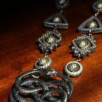 Fantasy Victorian Style Jewelry - Necklace - The neverending story - Two snakes