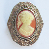 Operi Cameo Brooch and Pendant Signed Jewelry Silver Tone Vintage Pin  Pink and Ivory F91